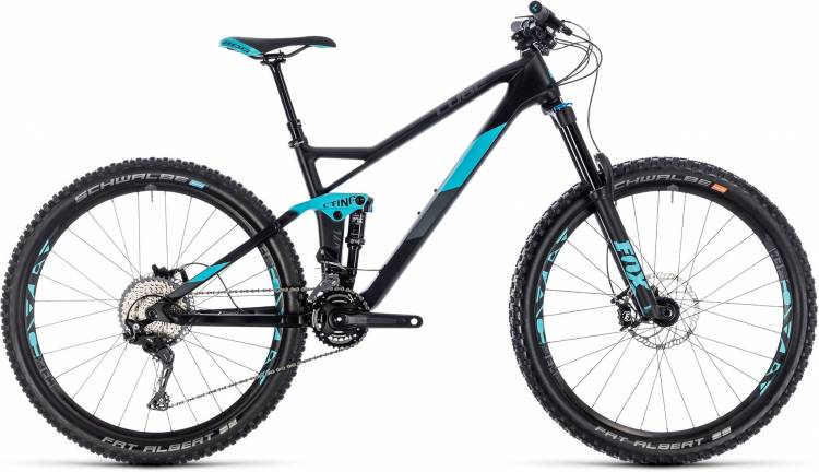 Cube Sting WS 140 HPC Race 27.5 carbon n aqua 2018 - MTB Doble Suspensión Damas