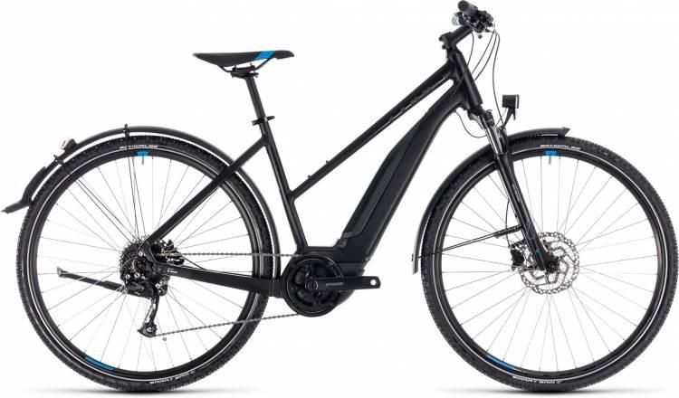 Cube Cross Hybrid ONE Allroad 500 black n blue 2018 - Bicicleta-Eléctrica Cross Damas Trapecio