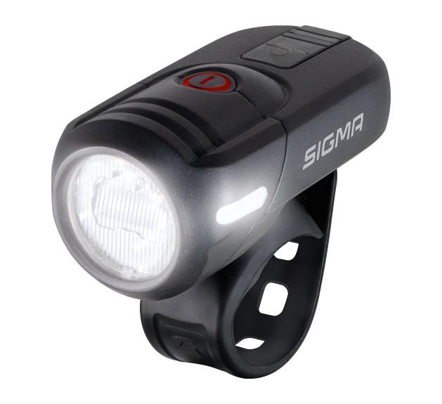 Lampe frontale à piles SIGMA LED Aura 45 USB incl. support, noir