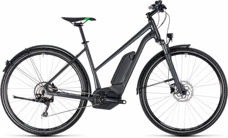 Cube Cross Hybrid Pro Allroad 400 grey n flashgreen 2018 - Bicicleta-Eléctrica Cross Damas Trapecio