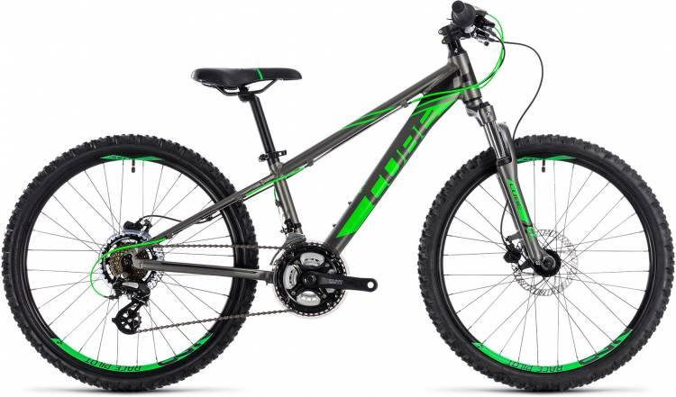 Cube Kid 240 Disc grey n flashgreen 2018 - Bicicleta Niños 24 Pulgadas