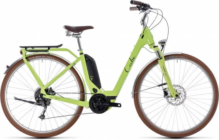 Cube Elly Ride Hybrid 500 green n black 2018 - Bicicleta-Eléctrica Trekking Retro Acceso Fácil
