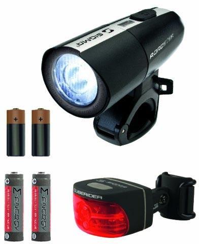 Luz delantera Sigma LED Roadster / Cuberider negro baterías incluídas