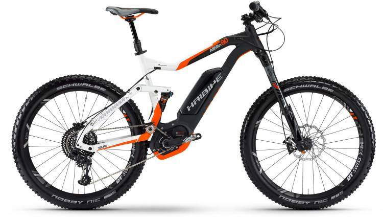 Haibike XDURO AllMtn 8.0 500Wh weiß/schwarz/orange matt 2017 - MTB-Eléctrica Doble Suspensión