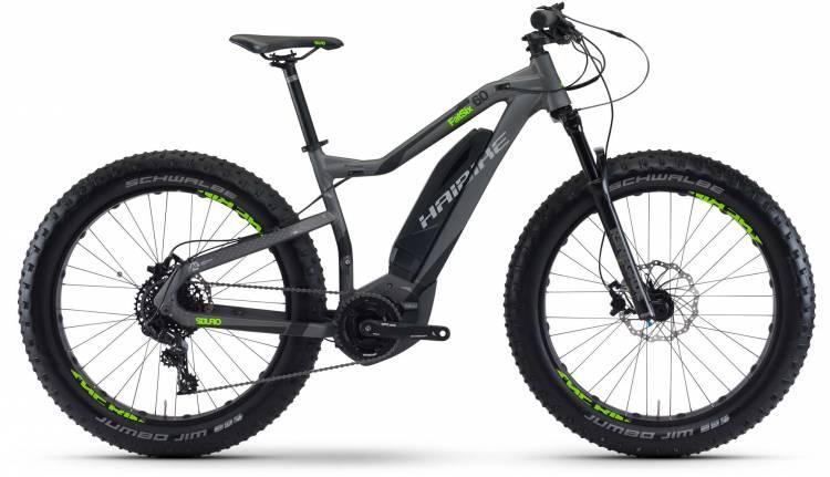 Haibike SDURO FatSix 6.0 400Wh titan/schwarz/grün matt 2017 - MTB-Eléctrica Rígida Fatbike