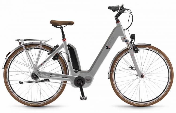 "Sinus Ena8f 500Wh 28"" FL silber matt 2017 - Bicicleta-Eléctrica Trekking Acceso Fácil"