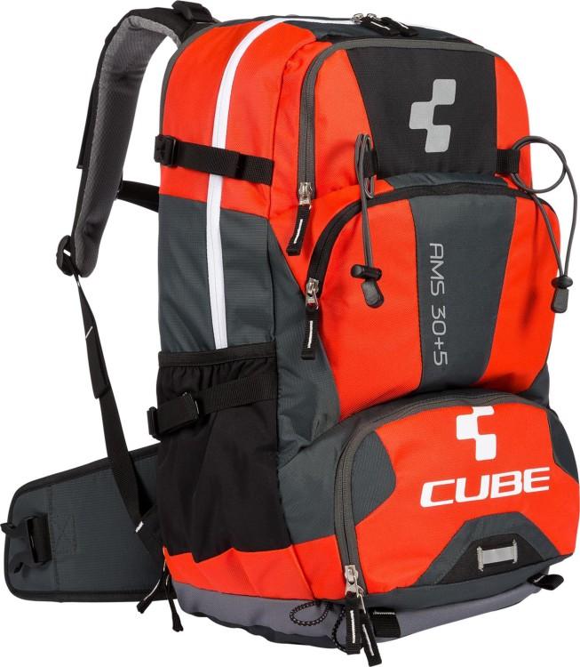 Mochila Cube AMS 30+5 negro y rojo flash