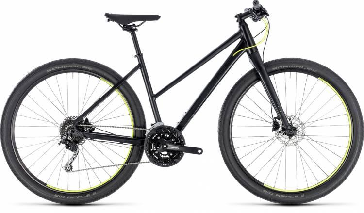 Cube Hyde black n yellow 2018 - Bicicleta Fitness Damas Trapecio