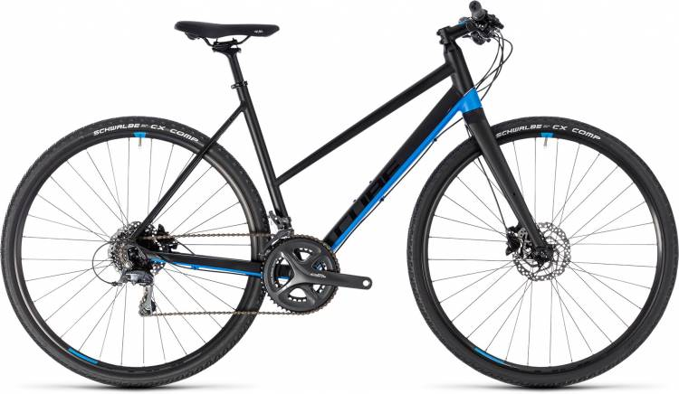 Cube SL Road black n blue 2018 - Bicicleta Fitness Damas Trapecio