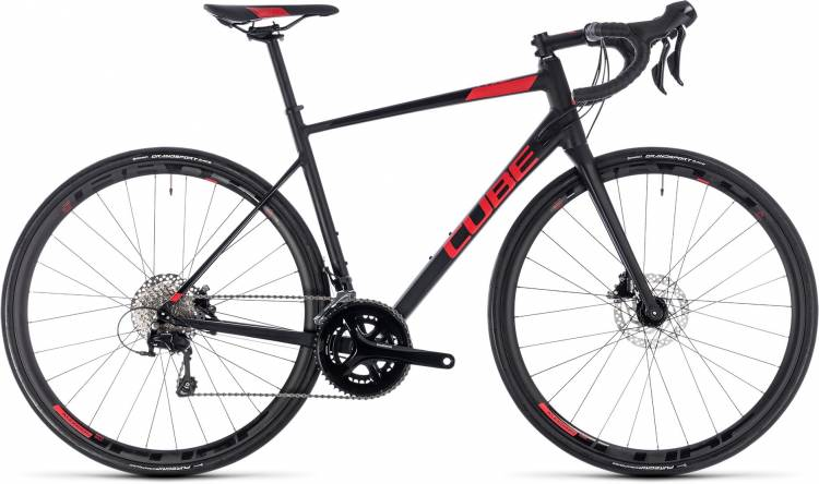 Cube Attain SL Disc black n red 2018 - Bicicleta de Carrera Aluminio Hombres
