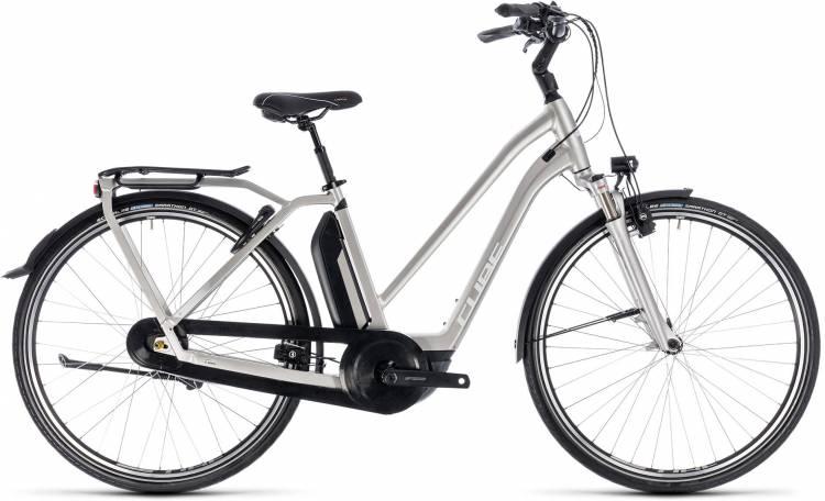 Cube Town Hybrid EXC 500 silver n white 2018 - Bicicleta-Eléctrica Trekking Damas Trapecio