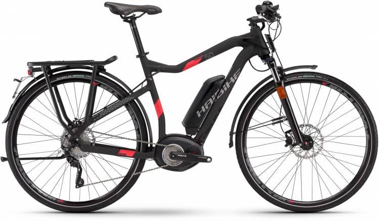 Haibike XDURO Trekking S 5.0 500Wh schwarz/rot matt 2017 - Bicicleta-Eléctrica Trekking Hombres