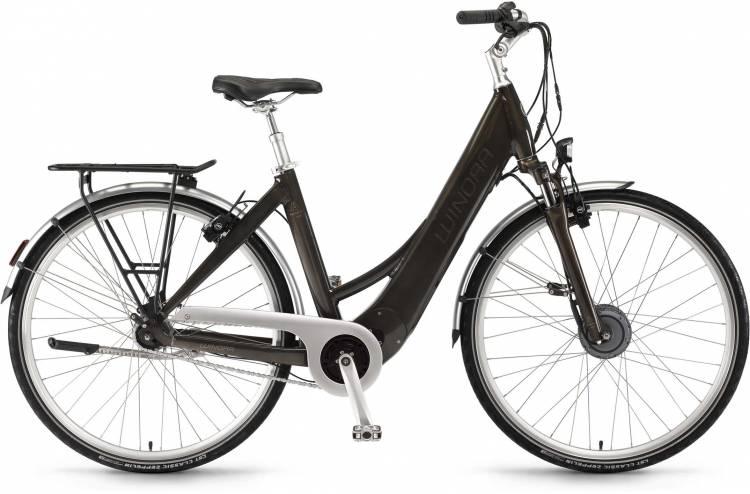 "Winora Manto F7auto 28"" FL 400Wh havannabraun 2017 - Bicicleta-Eléctrica Trekking Acceso Fácil"