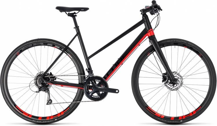 Cube SL Road Pro black n red 2018 - Bicicleta Fitness Damas Trapecio