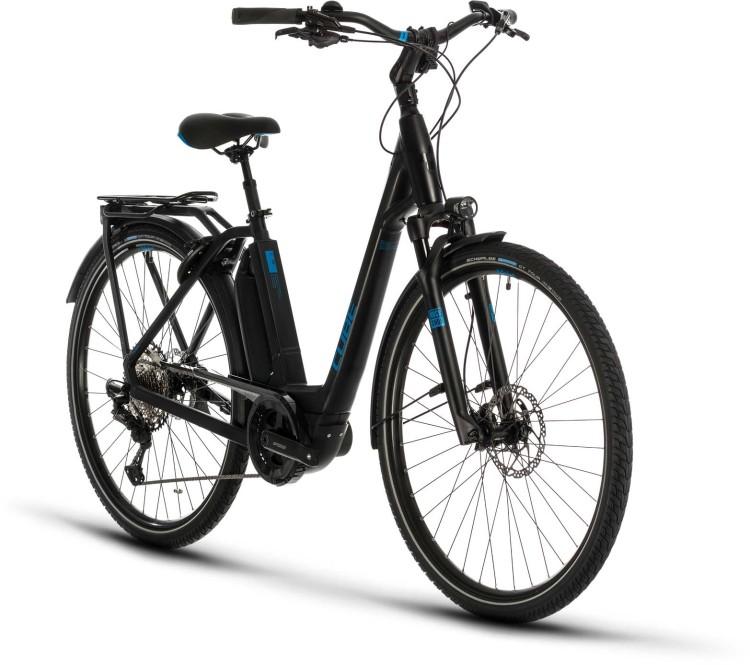 Cube Town Sport Hybrid EXC 500 black n blue 2020 - Bicicleta-Eléctrica Trekking Acceso Fácil