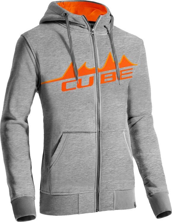 Sudadera con capucha Cube Zip gris y naranja