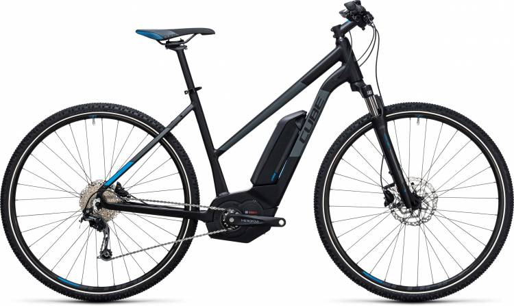 Cube Cross Hybrid Pro 400 black n blue Damen Trapez 2017