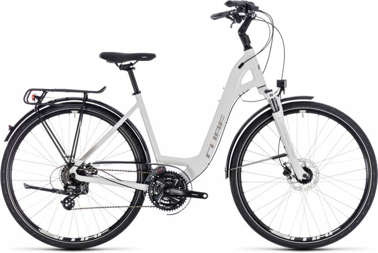 Cube Touring Pro white n silver 2018 - Bicicleta Trekking acceso Fácil