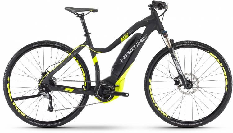 Haibike SDURO Cross 4.0 400Wh schwarz/lime matt 2017 - Bicicleta-Eléctrica Cross Damas Trapecio