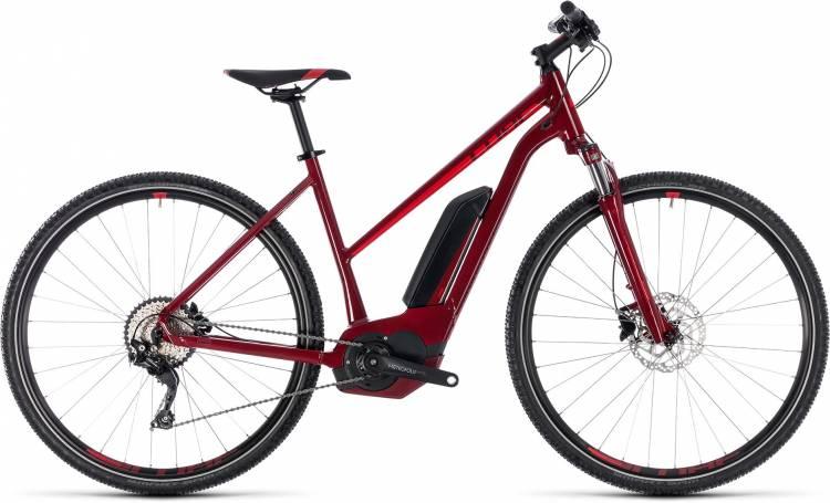 Cube Cross Hybrid Pro 500 darkred n red 2018 - Bicicleta-Eléctrica Cross Damas Trapecio