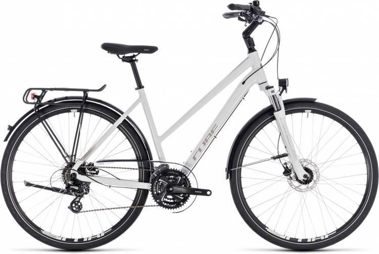 Cube Touring Pro white n silver 2018 - Bicicleta Trekking Damas Trapecio