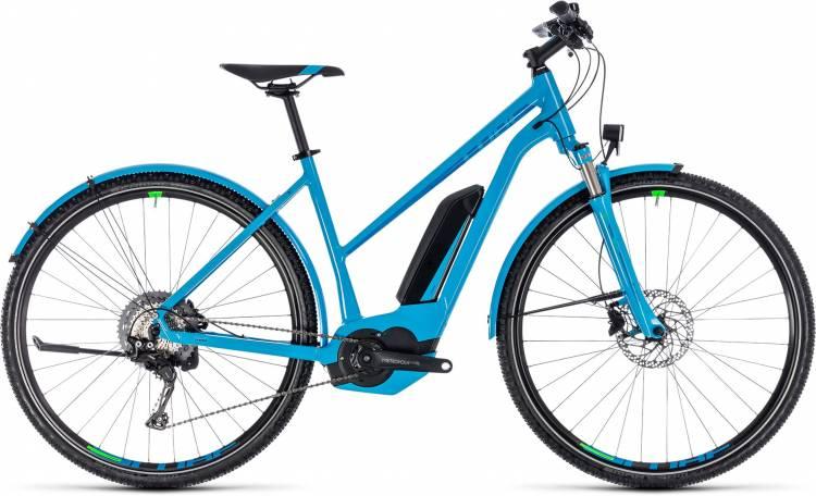 Cube Cross Hybrid Race Allroad 500 blue n green 2018 - Bicicleta-Eléctrica Cross Damas Trapecio
