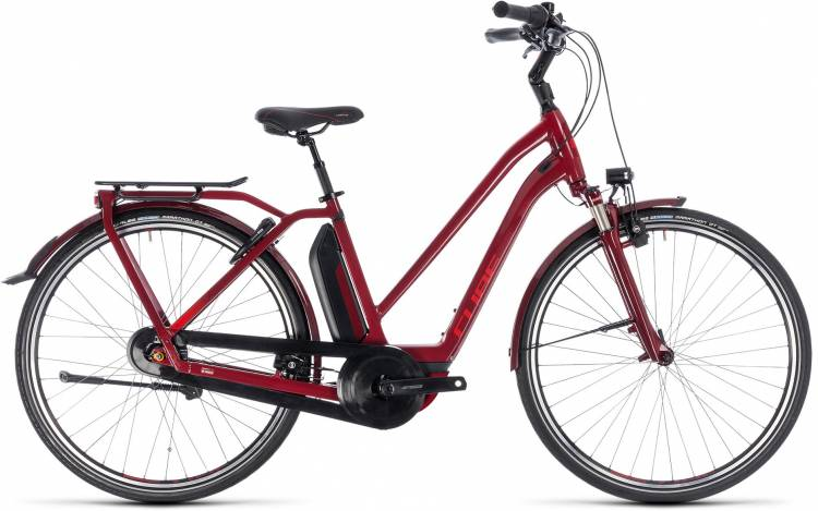 Cube Town Hybrid Pro 500 darkred n red 2018 - Bicicleta-Eléctrica Trekking Damas Trapecio