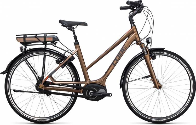 Cube Travel Hybrid 400 havanna brown n orange 2017 - Bicicleta-Eléctrica Trekking Damas Trapecio