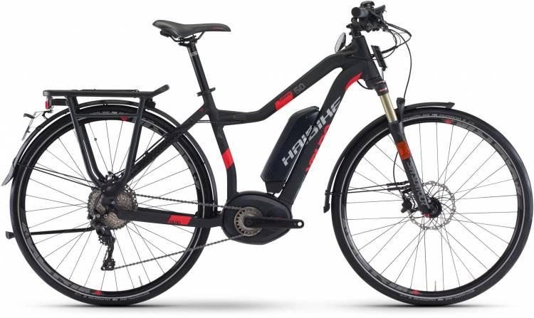 Haibike XDURO Trekking S 5.0 500Wh schwarz/rot matt 2017 - Bicicleta-Eléctrica Trekking Damas Trapecio