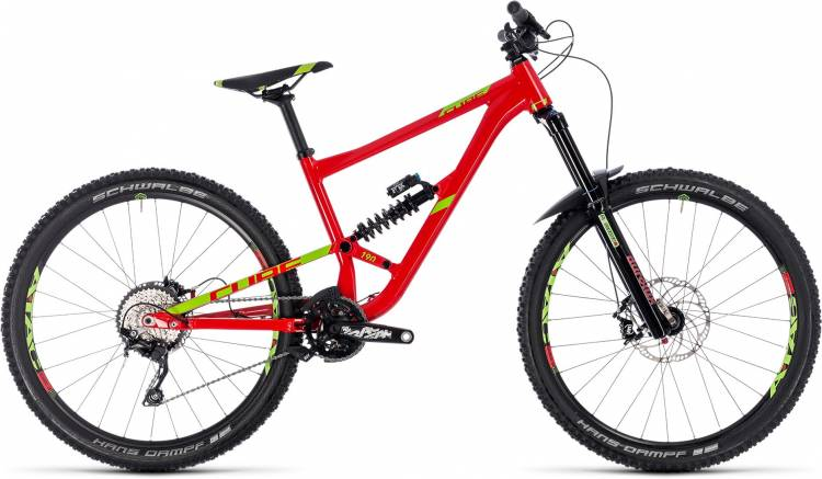 Cube Hanzz 190 Race 27.5 red n lime 2018 - MTB Doble Suspensión
