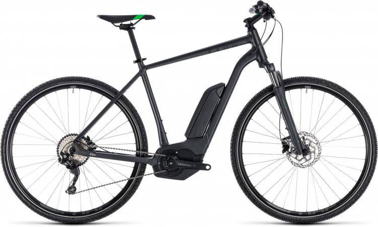 Cube Cross Hybrid Pro 400 grey n flashgreen 2018 - Bicicleta-Eléctrica Cross Hombres