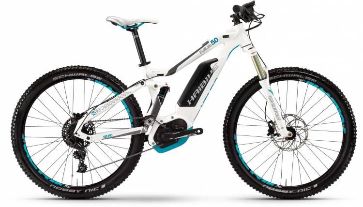 Haibike XDURO FullLife 5.0 500Wh weiß/titan/cyan 2017 - MTB-Eléctrica Doble Suspensión