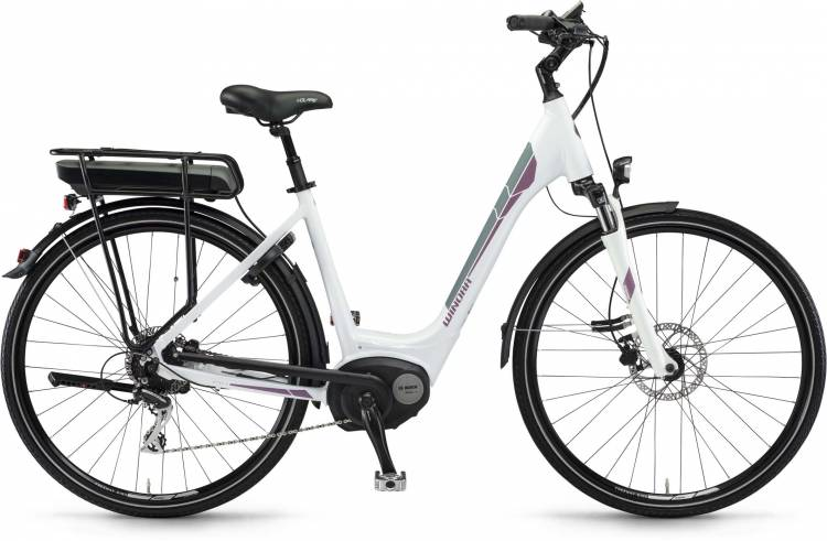 "Winora B180.X 400Wh 28"" weiß 2017 - Bicicleta-Eléctrica Trekking Acceso Fácil"