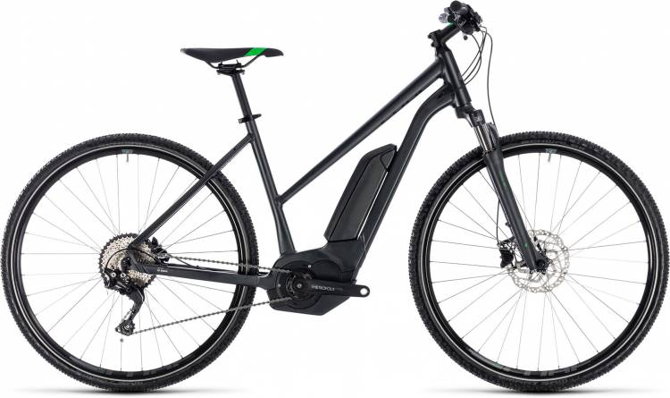 Cube Cross Hybrid Pro 400 grey n flashgreen 2018 - Bicicleta-Eléctrica Cross Damas Trapecio