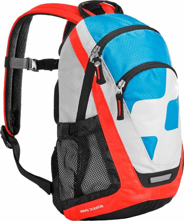 Mochila Cube AMS Junior Action Team azul, blanco y rojo flash