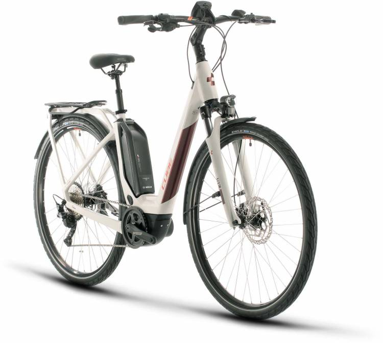 Cube Touring Hybrid Pro 500 grey n red 2020 - Bicicleta-Eléctrica Trekking Acceso Fácil