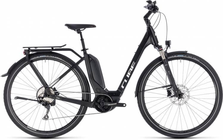 Cube Touring Hybrid Pro 400 black n white 2018 - Bicicleta-Eléctrica Trekking Acceso Fácil