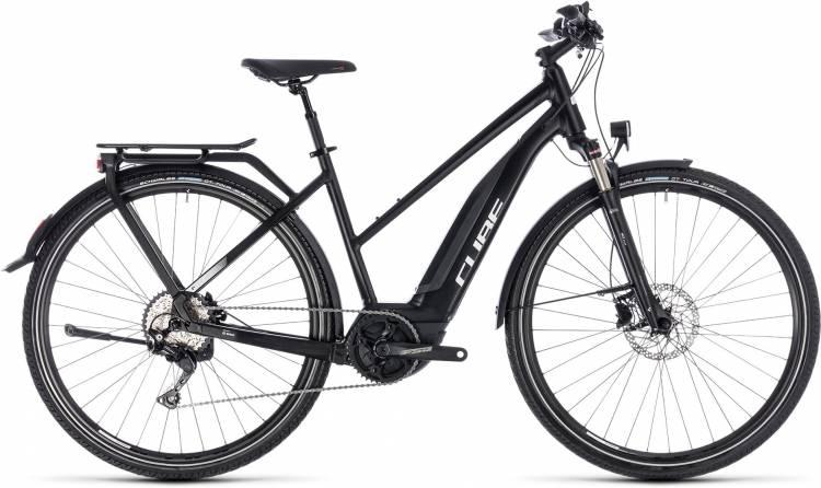 Cube Touring Hybrid Pro 400 black n white 2018 - Bicicleta-Eléctrica Trekking Damas Trapecio