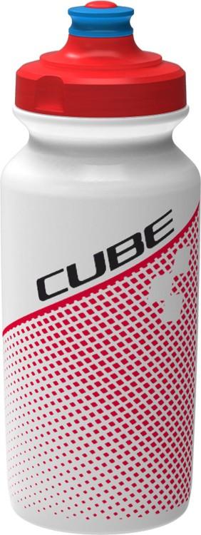 Bidón CUBE 0.5l TEAMLINE blanco y rojo