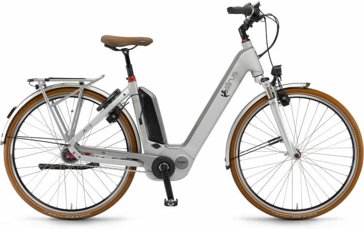 "Sinus Ena8 500Wh 28"" RT silber matt 2017 - Bicicleta-Eléctrica Trekking Acceso Fácil"