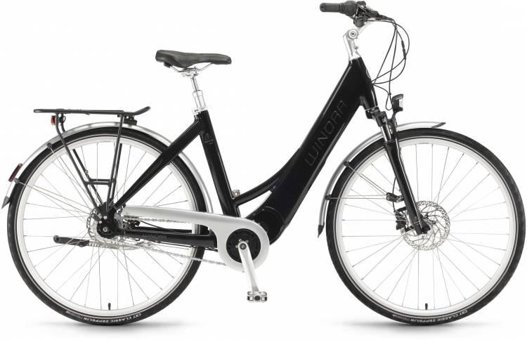 "Winora Manto M8disc 28"" RT 400Wh mysticblack 2017 - Bicicleta-Eléctrica Trekking Acceso Fácil"