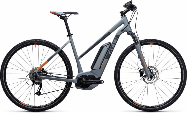 Cube Cross Hybrid ONE 400 grey n orange Damen Trapez 2017